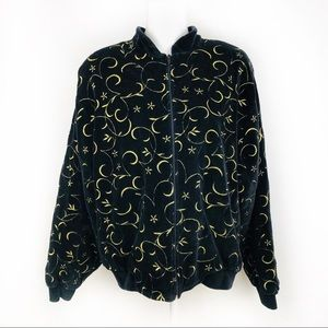 80'sOleg Cassini black/gold velour jacket sz apx L